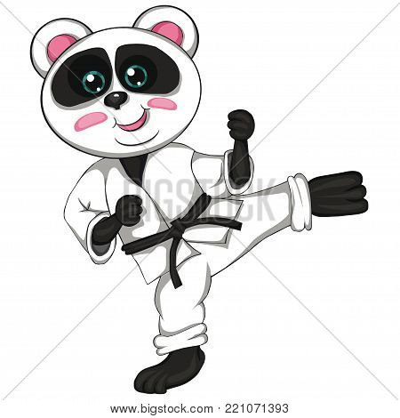 Karate panda. Cartoon style. Isolated image on white background. Clip art for children.
