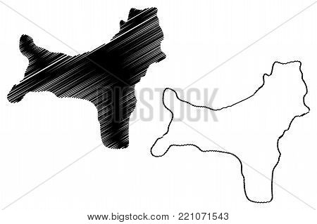 Christmas Island map vector illustration, scribble sketch Territory of Christmas Island