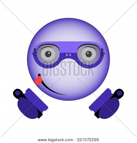 Vector image of an enthusiastic smiley in virtual reality glasses with a controller in hands in the ultraviolet color