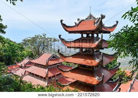 Linh Truong Tho Pagoda view from the top in Ta Cu mountain, Vietnam