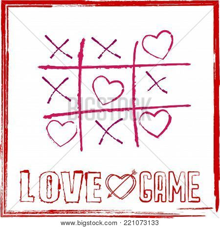 valentine's day card tic tac toe game with hearts for game of love concept.