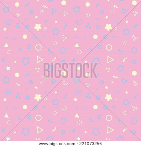 Pink stars seamless pattern on light pink mesmeric background.