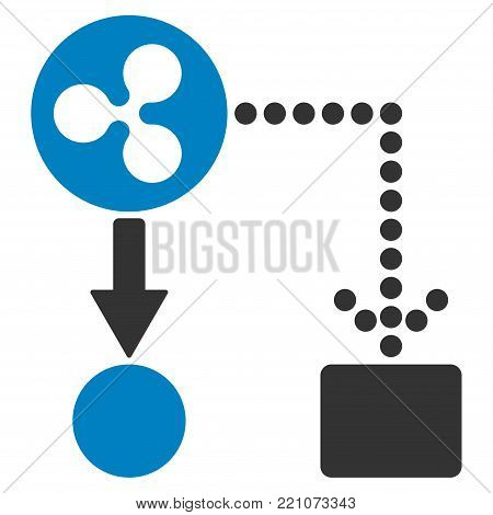 Ripple Cashflow flat vector illustration. An isolated icon on a white background.
