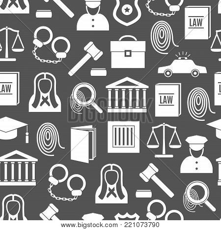 Silhouette Law and Justice Seamless Pattern Background Symbol Crime or Legal for Web. Vector illustration
