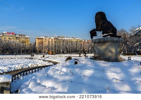 SOFIA, BULGARIA - NOVEMBER 29, 2017: Memorial of First and Sixth Infantry Regiment in park in front of  National Palace of Culture in Sofia, Bulgaria