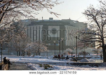 SOFIA, BULGARIA - NOVEMBER 29, 2017:  Winter view of National Palace of Culture in Sofia, Bulgaria