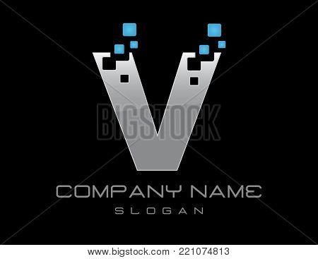 techno letter V on a black background