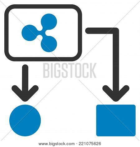 Ripple Cashflow flat vector pictograph. An isolated icon on a white background.