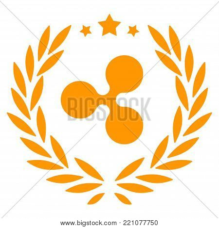 Ripple Laurel Wreath flat vector pictogram. An isolated icon on a white background.