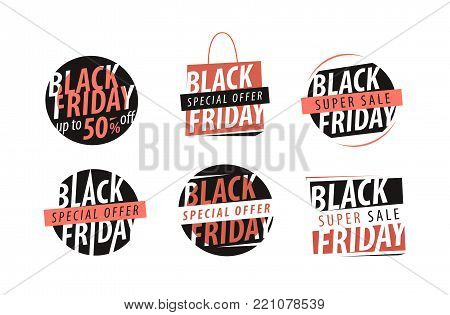 Black Friday, banner. Sale, closeout, shopping emblem or label Set of icons