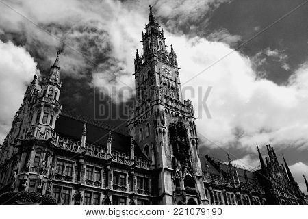 The Neue Rathaus (New City Hall) - magnificent neo-gothic building in Munich in b/w format.