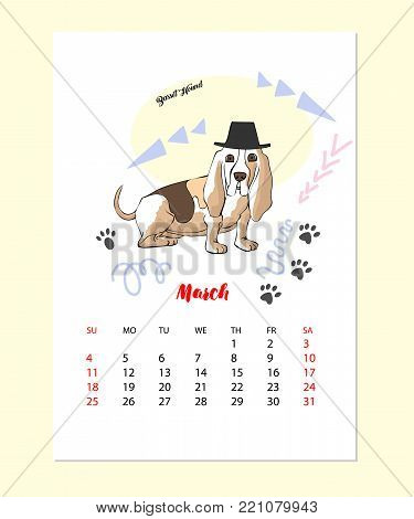 March  Calendar 2018 with  Funny Basset Hound Sketch. Hand drawn animals vector illustration