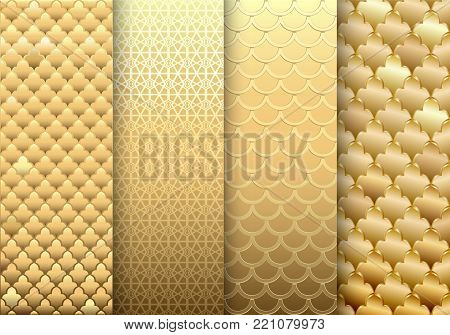 A set of gold textures backgrounds. Eastern or Arabic style. Luxurious wall with embossed texture. Old gold. Vector graphics