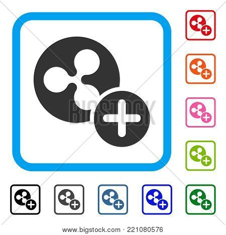 Ripple Coin Add icon. Flat grey pictogram symbol in a blue rounded rectangle. Black, gray, green, blue, red, orange color additional versions of Ripple Coin Add vector.