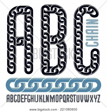 Vector font, trendy typescript can be used in poster creation. Upper case decorative letters, abc created using metal connected chain link.