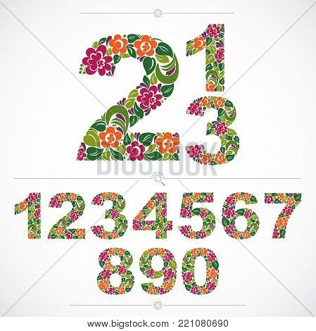 Set of beautiful numbers decorated with herbal autumn ornament. Vector numeration made in floral style.
