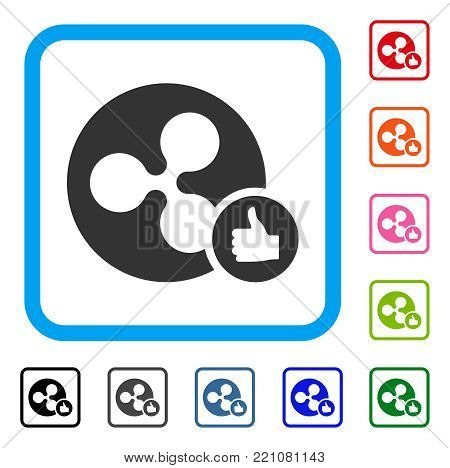 Ripple Coin Thumb Up icon. Flat gray pictogram symbol in a blue rounded rectangular frame. Black, gray, green, blue, red, orange color versions of Ripple Coin Thumb Up vector.