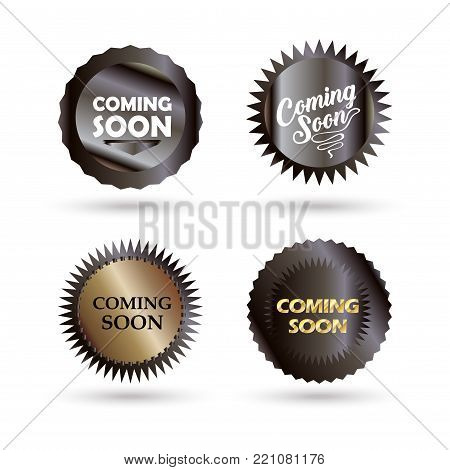 Coming soon - labels set, unique stamp symbols isolated, decorative modern frames, icons, stickers, elements advertising website, sale, promo flyer design, vector banners sign template.