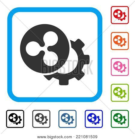 Ripple Configuration Gear icon. Flat gray pictogram symbol in a blue rounded rectangular frame. Black, gray, green, blue, red, orange color versions of Ripple Configuration Gear vector.