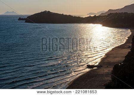 Gaeta sea beach evening sunset view, province of Latina, in Lazio, central Italy. People unrecognizable.