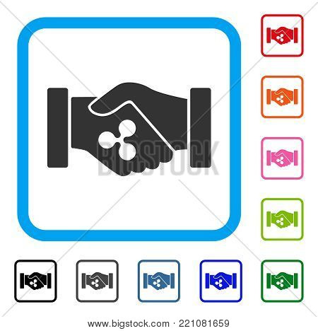 Ripple Contract Hands icon. Flat grey iconic symbol inside a blue rounded frame. Black, gray, green, blue, red, orange color additional versions of Ripple Contract Hands vector.