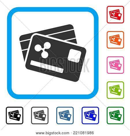 Ripple Credit Cards icon. Flat gray iconic symbol inside a blue rounded rectangle. Black, gray, green, blue, red, orange color additional versions of Ripple Credit Cards vector.