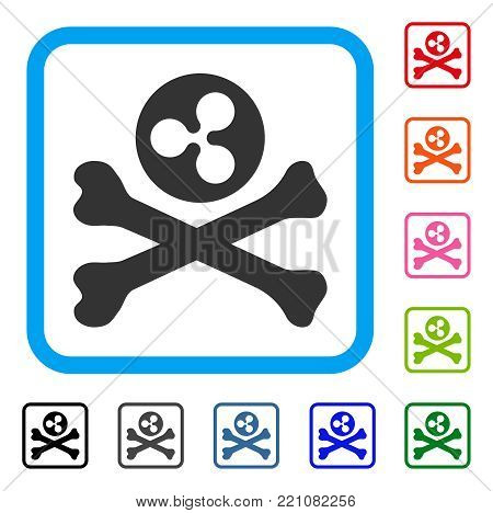 Ripple Death icon. Flat gray iconic symbol inside a blue rounded rectangle. Black, gray, green, blue, red, orange color versions of Ripple Death vector. Designed for web and application interfaces.