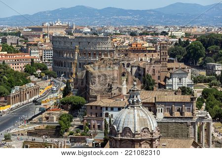 ROME, ITALY - JUNE 23, 2017:  Panoramic view of City of Rome from the roof of  Altar of the Fatherland, Italy