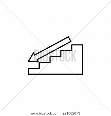 ladder with downward arrow icon. Stairs in our life Icon. Premium quality graphic design. Signs, symbols collection, simple icon for websites, web design, mobile app on white background