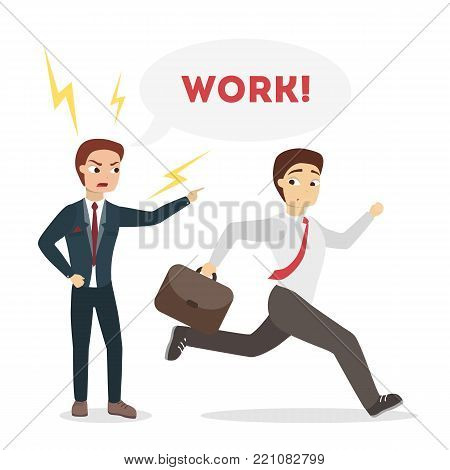 Boss shouting at employee to go working.