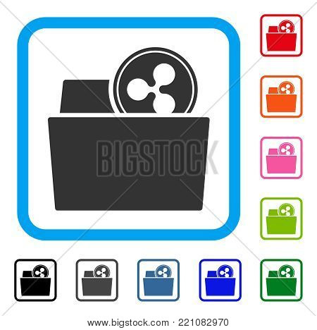 Ripple Folder icon. Flat grey pictogram symbol inside a blue rounded rectangle. Black, gray, green, blue, red, orange color versions of Ripple Folder vector. Designed for web and software UI.