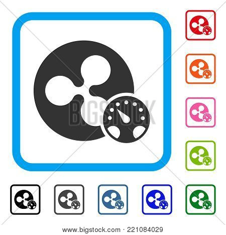 Ripple Meter icon. Flat gray iconic symbol inside a blue rounded squared frame. Black, gray, green, blue, red, orange color additional versions of Ripple Meter vector. Designed for web and app UI.