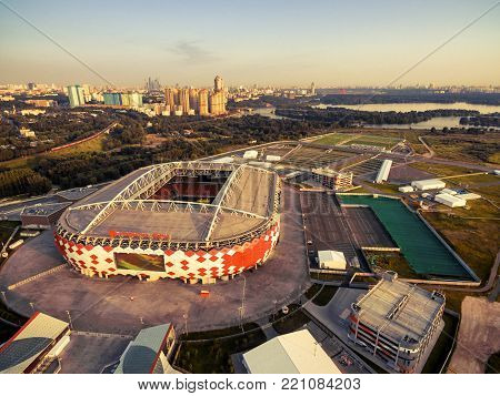 Moscow - August 20, 2017: Aerial view of Moscow with Spartak Stadium (Otkritie Arena). Spartak Stadium has been selected for the 2018 FIFA World Cup.
