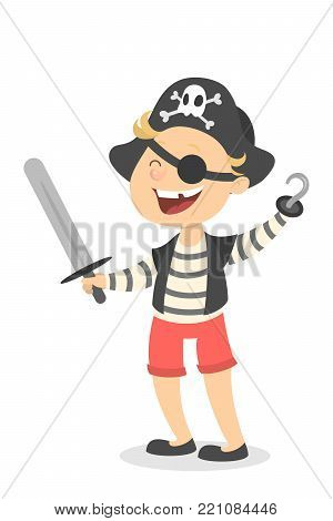 Isolated pirate boy in costume with hat and sword.