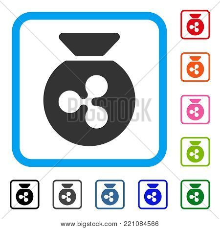 Ripple Money Bag icon. Flat gray pictogram symbol inside a blue rounded rectangle. Black, gray, green, blue, red, orange color versions of Ripple Money Bag vector. Designed for web and application UI.