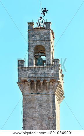 Montepulciano Communal Palace tower, designed by Michelozzo,15th century. Province of Siena, Tuscany, Italy.