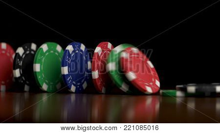 Poker chips fall like a domino effect. Poker chips standing on black background. Poker chips and domino effect 4K