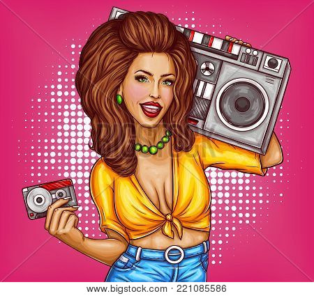 Vector sexy smiling woman with bright makeup, in tied shirt and jeans holds tape recorder on her shoulder and audio cassette in one hand. Pop art pretty girl music lover concept illustration