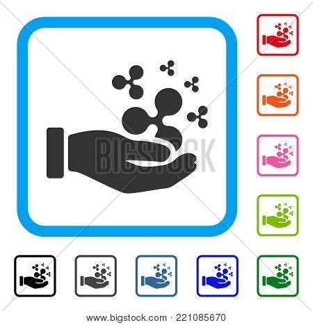 Ripple Salary Hand icon. Flat gray iconic symbol in a blue rounded square. Black, gray, green, blue, red, orange color additional versions of Ripple Salary Hand vector.