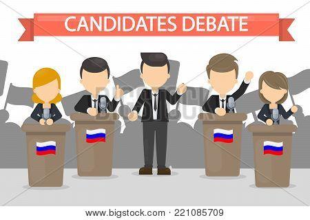 Candidates debates in Russia illustration. Women and men on podium.