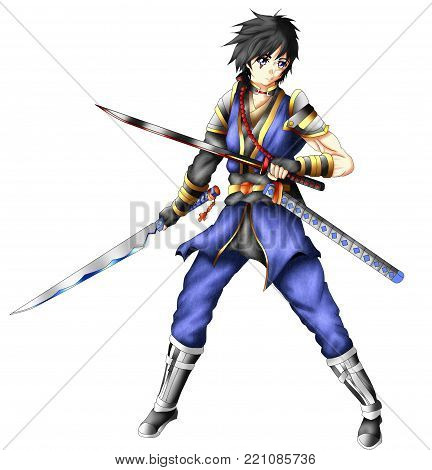 Hero swordsman with two swords, anime version.