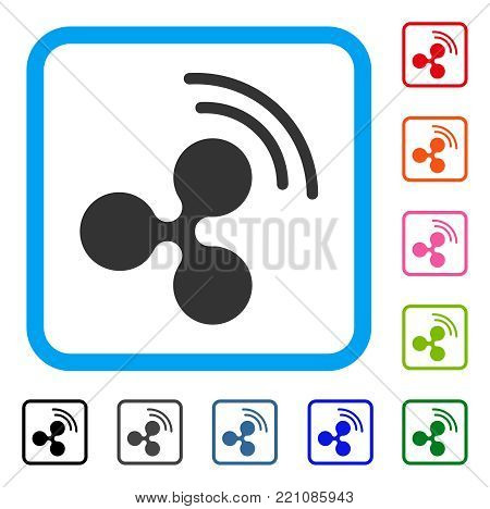 Ripple Source Signal icon. Flat gray pictogram symbol inside a blue rounded squared frame. Black, gray, green, blue, red, orange color variants of Ripple Source Signal vector.