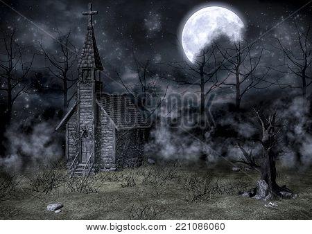 Old abandoned creepy church background. 3D Illustration.