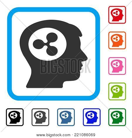 Ripple Think icon. Flat grey iconic symbol inside a blue rounded square. Black, gray, green, blue, red, orange color versions of Ripple Think vector. Designed for web and application UI.