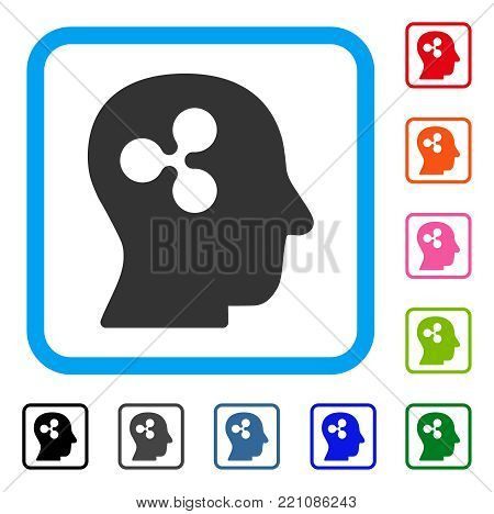 Ripple Thinking icon. Flat grey pictogram symbol inside a blue rounded squared frame. Black, gray, green, blue, red, orange color additional versions of Ripple Thinking vector.
