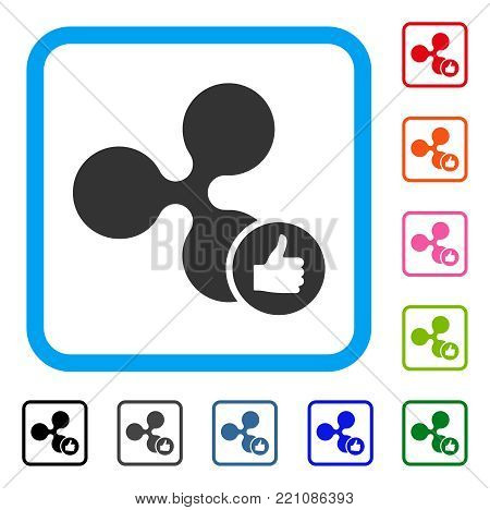 Ripple Thumb Up icon. Flat grey iconic symbol inside a blue rounded frame. Black, gray, green, blue, red, orange color variants of Ripple Thumb Up vector. Designed for web and app interfaces.