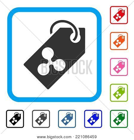 Ripple Token icon. Flat grey pictogram symbol inside a blue rounded rectangle. Black, gray, green, blue, red, orange color additional versions of Ripple Token vector.