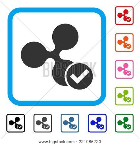 Ripple Valid icon. Flat gray pictogram symbol inside a blue rounded squared frame. Black, gray, green, blue, red, orange color versions of Ripple Valid vector. Designed for web and app interfaces.