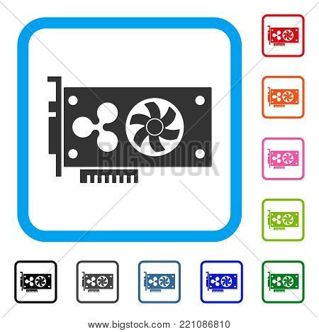 Ripple Video Gpu Card icon. Flat grey iconic symbol inside a blue rounded rectangle. Black, gray, green, blue, red, orange color variants of Ripple Video Gpu Card vector.