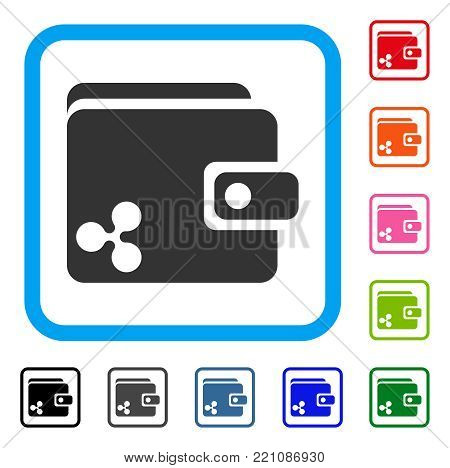 Ripple Wallet icon. Flat gray iconic symbol in a blue rounded frame. Black, gray, green, blue, red, orange color versions of Ripple Wallet vector. Designed for web and application UI.